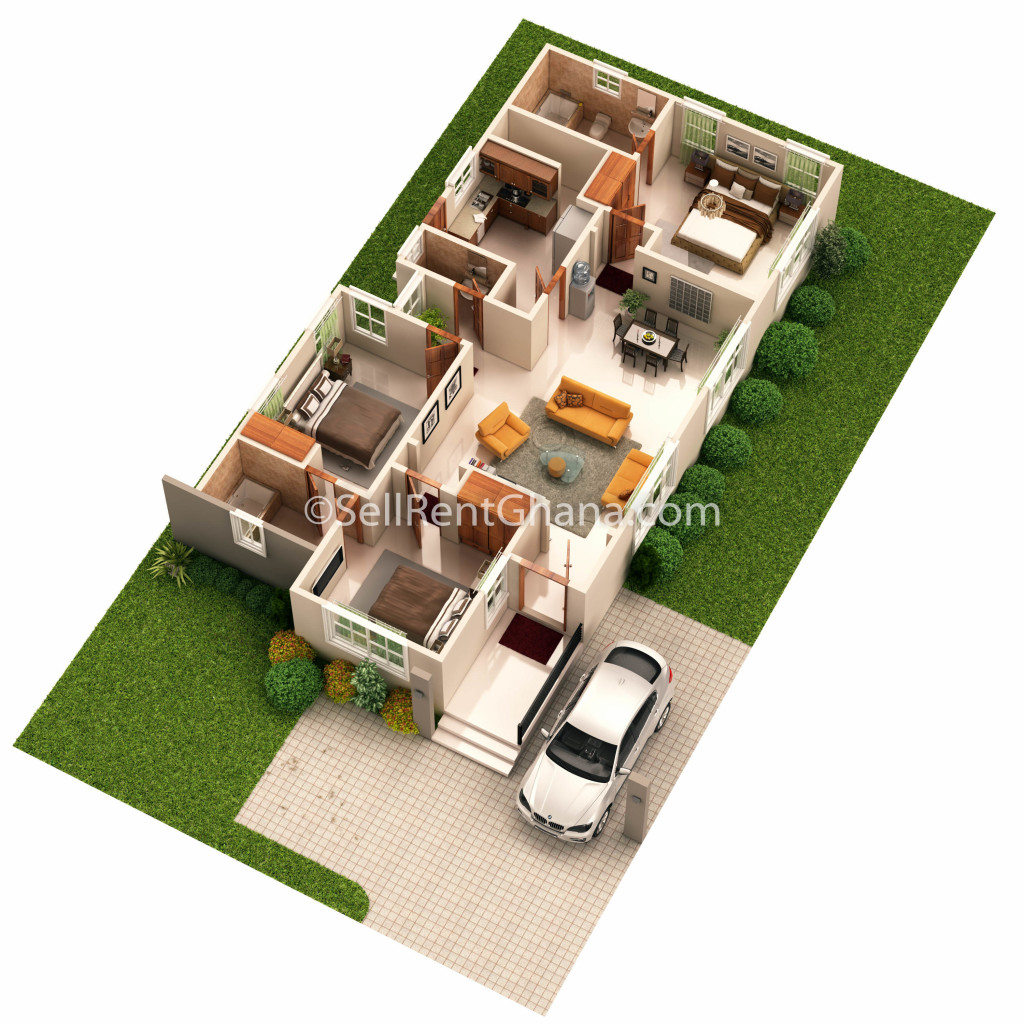 3 bedroom townhouse selling sellrent ghana - Modernbedroombathroom house plans ...